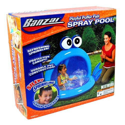 """Banzai Spray Pool Series Swimming Pool - Blue PLAYFUL PUFFER FISH with Refreshing Sprinkler, Protective Canopy and Durable PVC Construction (Pool Dimension: 57"""" L x 40"""" W x 36"""" H)"""