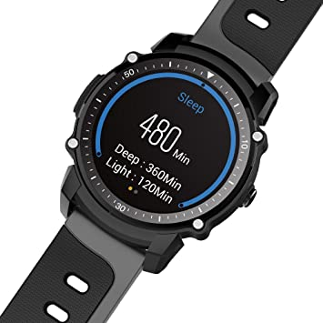 FS08 Reloj Inteligente Hombre IP68 Impermeable GPS Deportes Fitness Tracker Cronómetro Pulsómetro Monitor Reloj de Pulsera para Android e iOS, color negro: ...