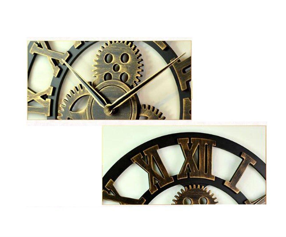 YJR-Relojes de pared Moda creativa retro Reloj de pared silencioso de la vendimia con diseño hueco creativo con la exhibición numérica árabe / romana para ...