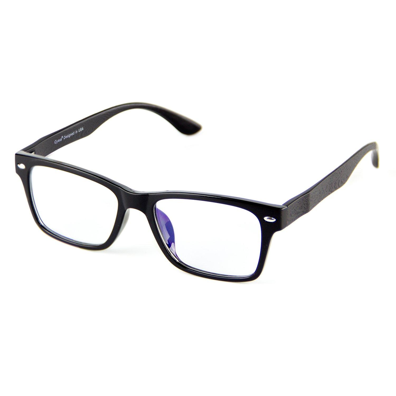 Cyxus Blue Light Filter Lightweight TR90 Glasses for Computer Use, Anti Eye Strain Headache Video Eyewear (Wood Grain Black Frame)