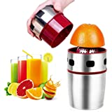 Lukasa Citrus Juicer Manual Orange Juicer Portable Stainless Steel Hand Grapefruit Squeezer Lid Rotation Squeezer for…