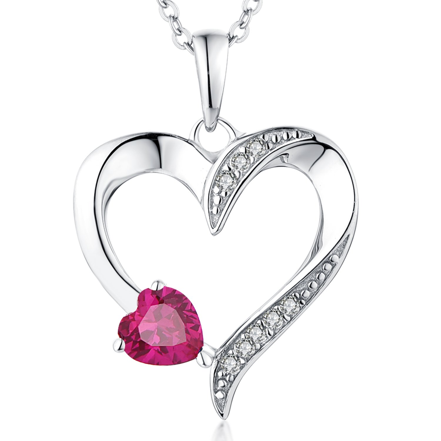 YL Women's Red Double Heart Pendant Sterling Silver CZ Created Ruby Red Necklace Birthstone Jewelry by YL