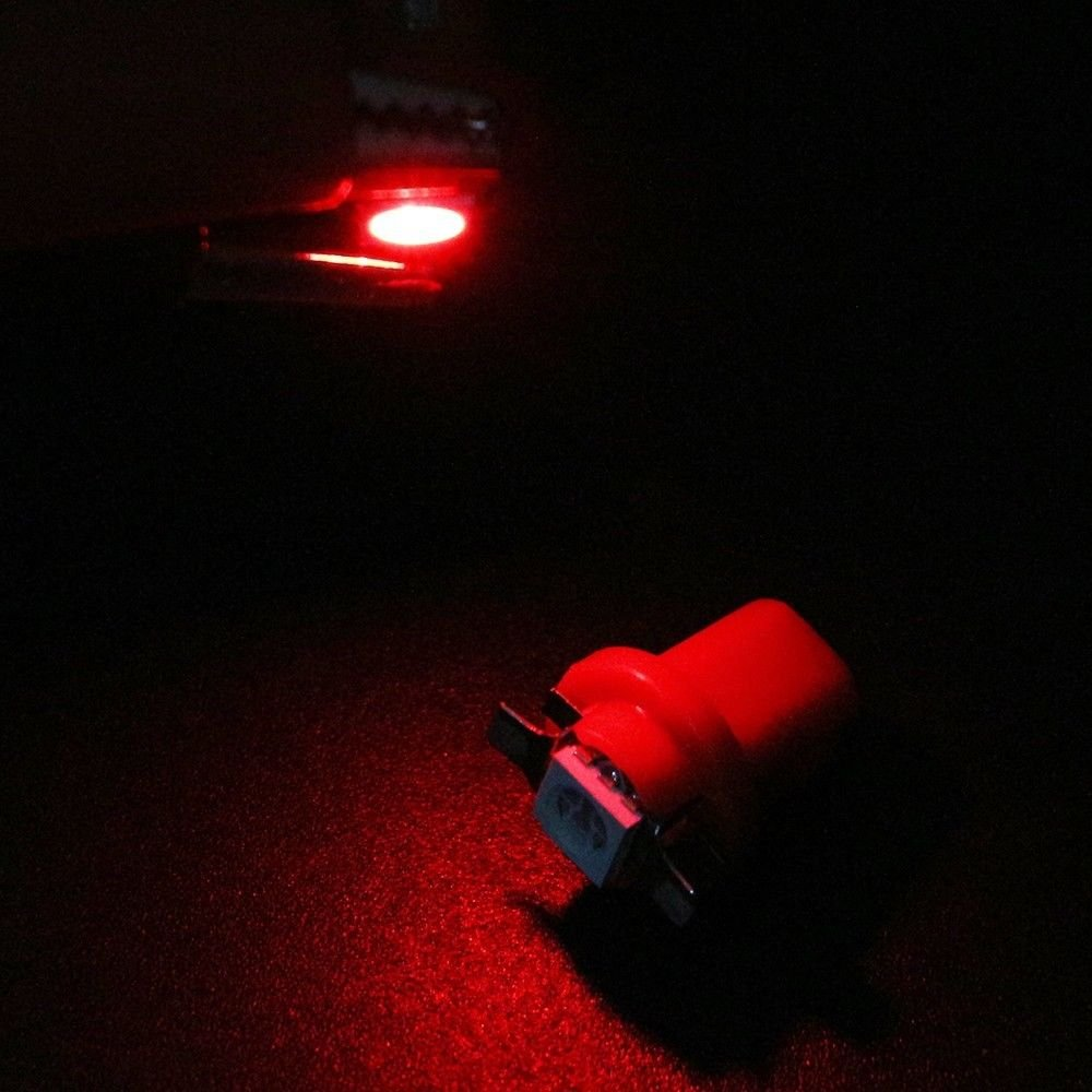 Red Ronben 30X T5 B8.5D 5050 1SMD LED Dashboard Panel Dash Wedge Side Light Bulbs