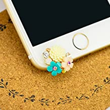 Mavis's Diary® Cute Bling Dust Plug Accessories/ Cell Charms/ Ear Jack for Iphone 6 Series,Samsung Galaxy S6 Series,Galaxy Note 5,HTC M9,LG G4 and Other 3.5mm Earphone Jack Downward (Colorful Flowers)