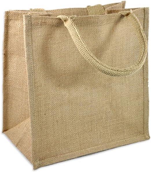 Amazon.com: Bolsos de yute y arpillera con asas de algodón ...