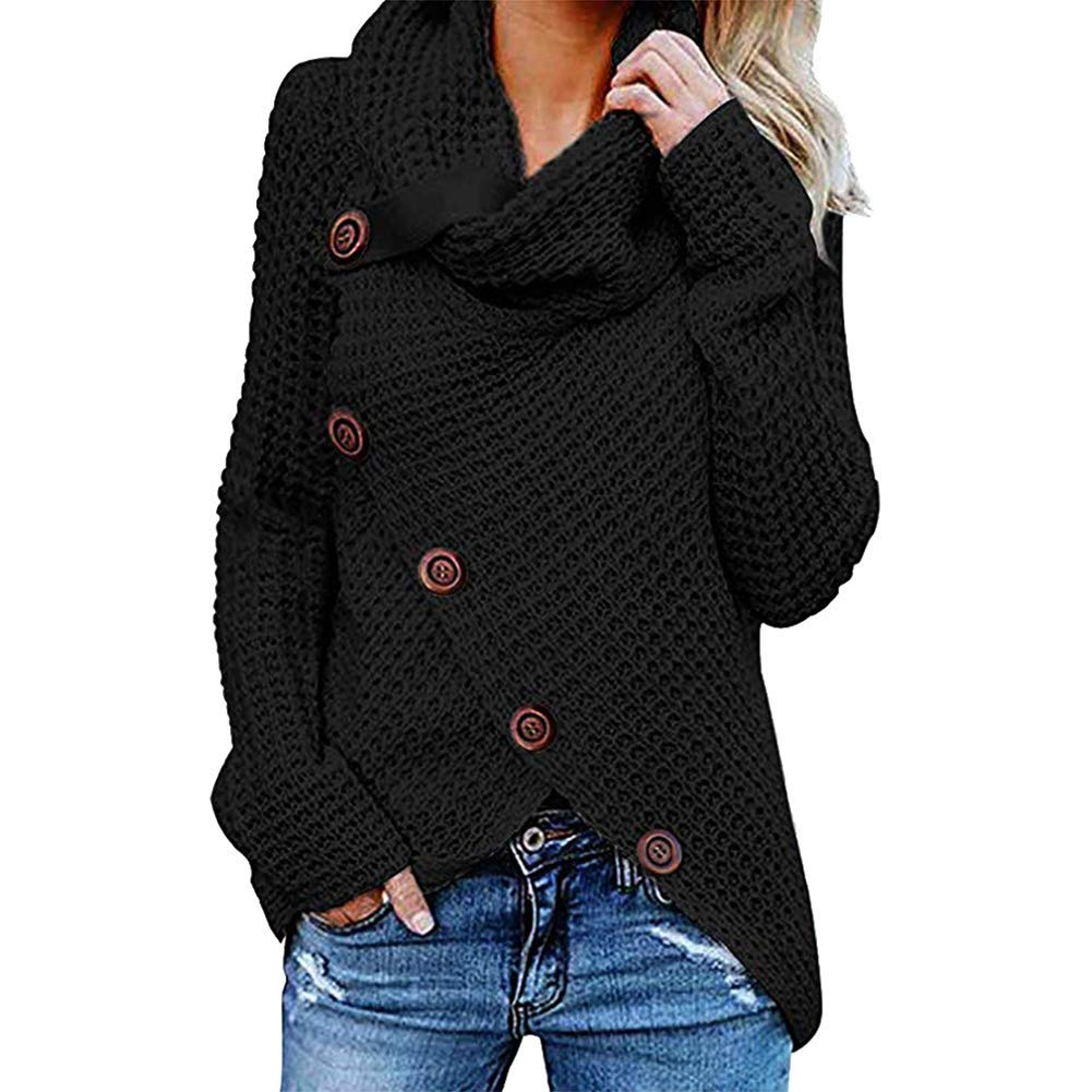 Frauen Casual Langarm-Pullover F/ünf-Knopf-Pullover mit hohem Ausschnitt Einfarbig Frauen Herbst Und Winter Beil/äufige Lose Oberteile
