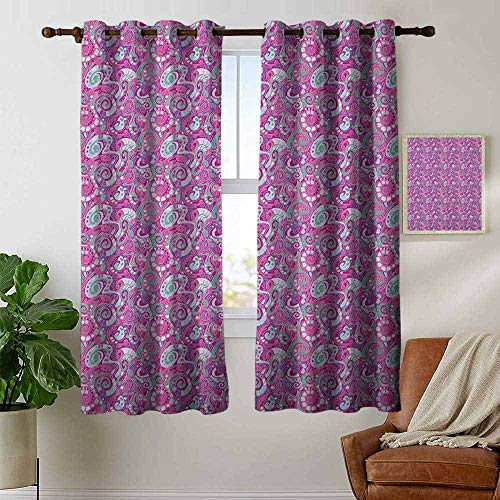 petpany Bedroom Curtains Abstract,Spiral Structure Pattern with Curves and Swirls Surreal Inspirations, Sea Green Magenta Purple,Thermal Insulated Room Darkening Window Shade 42