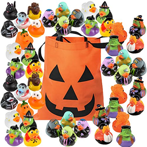 Halloween Rubber Duckies - Bulk Variety Pack Bundle of 48 Rubber Ducks - Zombies, Dracula, Werewolf, Frankenstein, Black Cat, Pumpkin, Ghost, Skeleton, Witch, Candy Corn Designs by The Old Blue Door