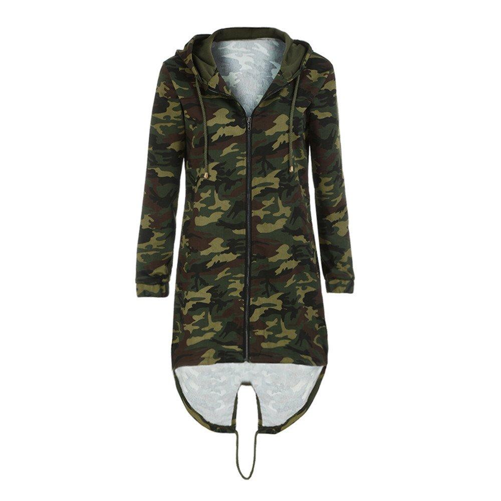iHENGH Damen Mantel Top,Women Kapuzen Lang/äRmel Jacke Windbreaker Camouflage Outwear Strickjacke Coat Tops