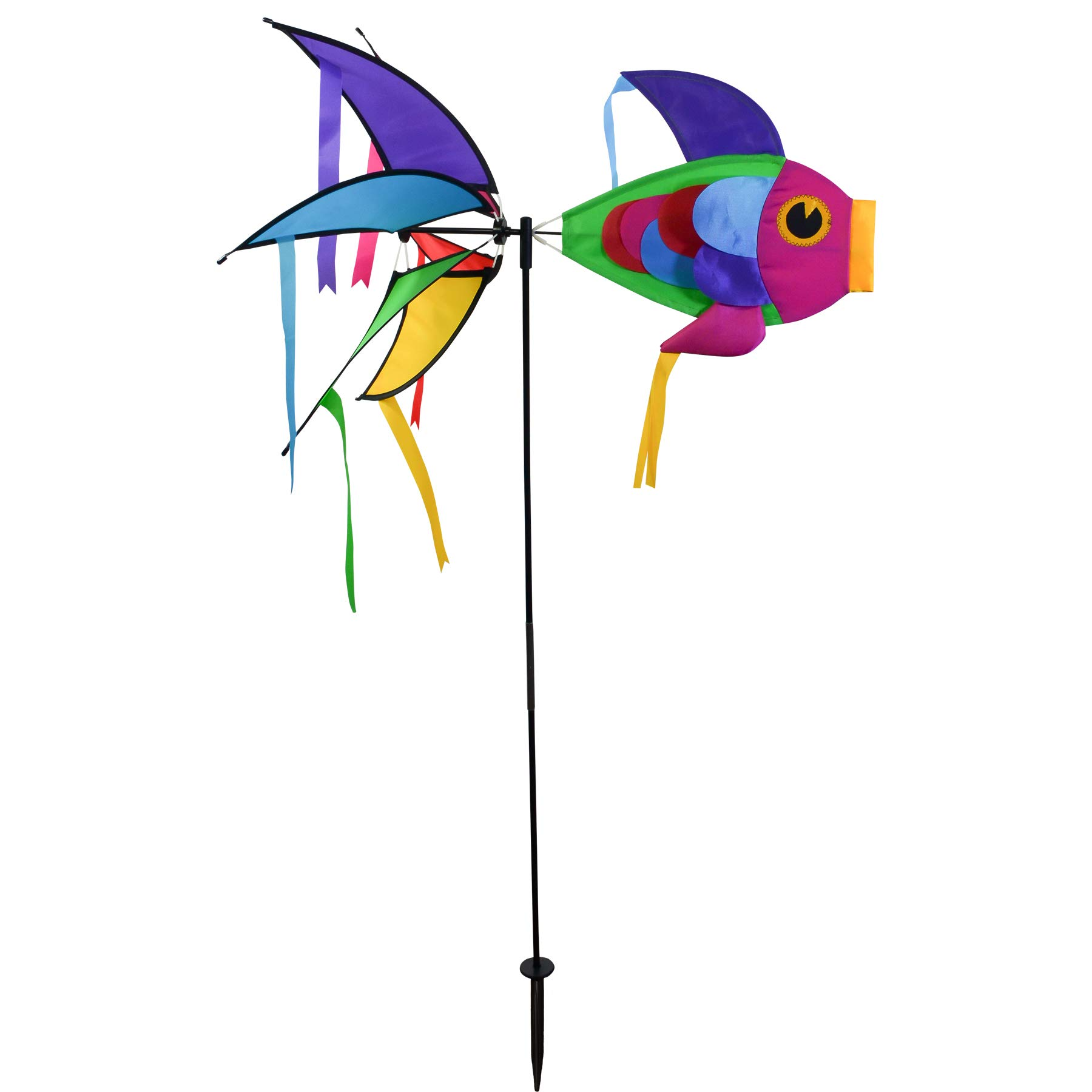 In the Breeze 2722 Rainbow Damselfish Ground Spinner-Colorful Wind Decoration