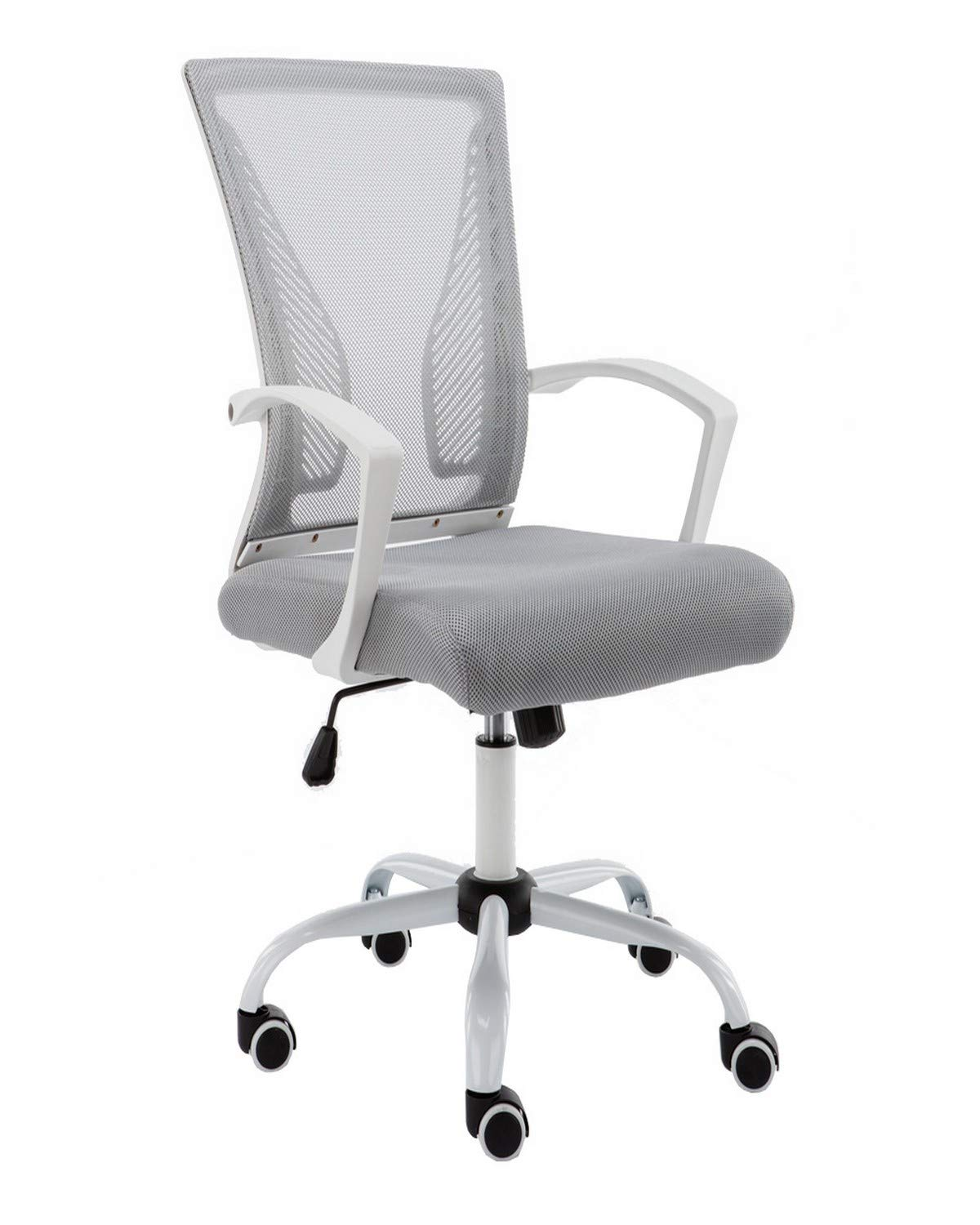 Miraculous Modern Home Zuna Mid Back Office Chair White Gray Caraccident5 Cool Chair Designs And Ideas Caraccident5Info