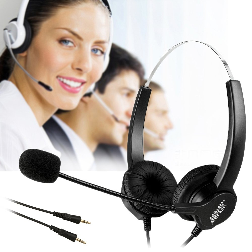 AGPtEK® Dual 3.5mm Audio Plug Call Center Binaural Headset Noise Cancelling Corded Headphone with Mic for Phone Desk Telephone