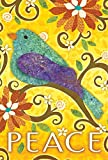Toland Home Garden Bird of Peace 28 x 40 Inch Decorative Colorful Cut Out Yellow Flower House Flag