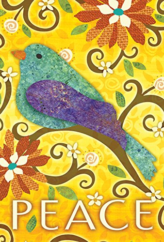 Toland Home Garden Bird of Peace 28 x 40 Inch Decorative Colorful Cut Out Yellow Flower House Flag by Toland Home Garden