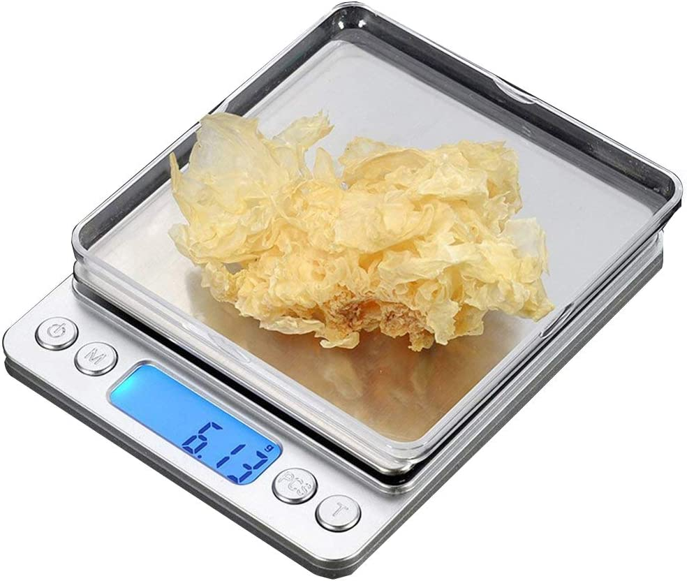 CestMall Básculas Digitales de Cocina (0.001 oz/ 0.01 g) Bolsillo de Alta Precisión de Alimentos Mini Protable Básculas de Joyería con 2 Bandejas Extraíbles