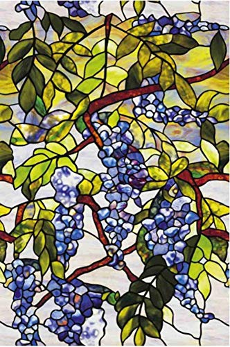 Robert Window sticker Static Cling Stained Glass Window Film Leaf Grape Magnolia Orchid Flower Cobblestone Privacy Textured,90x200cm(35.4〃x78.7〃)