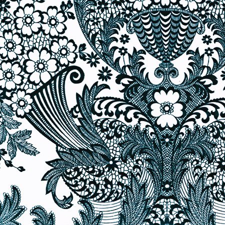 Oilcloth - Paradise Lace Black (Floor Covering Oilcloth)