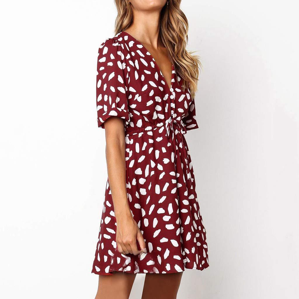 Women/'s Summer Wrap V Neck Bohemian Floral Print Ruffle Swing A Line Beach Mini Dress Evening Party