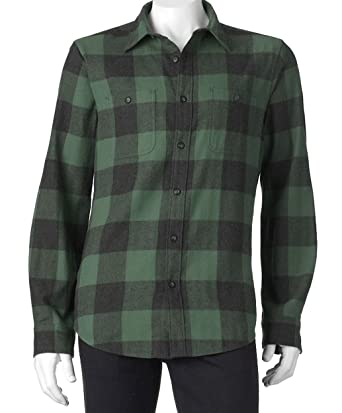 Sonoma Mens Modern Fit Flannel Shirt Green Buffalo Check Squares (Large) 16518b155e8