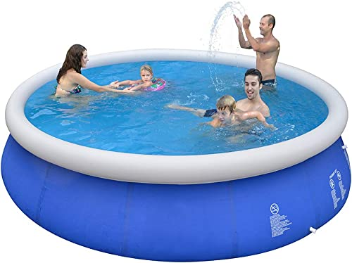 Inflatable Top Ring Swimming Pools Outdoor Garden Lawn Ground Set Round Swimming Pool Blue 12 ft X 36 in