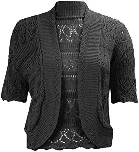 Womens Short Sleeve Front Open Crochet Knit Bolero Shrug Ladies Casual Crop Top