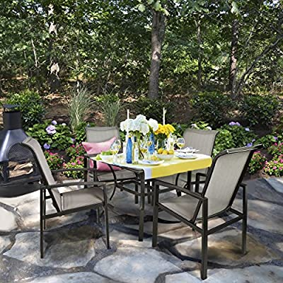 Barton 5-Piece Outdoor Dining Set Square Patio 1 Table Mesh Dining 4 Chairs Yard Patio Furniture Garden UV-Resistant - Durable Frame Material - The construction of table and chairs are crafted of high-quality material handled with exquisite finish. Table and chairs stand sturdily and stably as well as maintain and weather and rust resistant Comfort Design - True ergonomic engineering has been crafted into each piece of the Barton Collection, including backs, seats and arms to deliver unmatched comfort Multi-Usage - Table and chair set is perfect for outdoor and indoor usage such as patios, balconies, terrace, apartment, breakfast nooks, beach coastal houses etc. Because of its appropriate size and light weight, it is easy and convenient for you to move it. - patio-furniture, dining-sets-patio-funiture, patio - 61CEu2bE sL. SS400  -