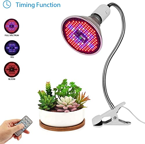 JCBritw Plant Grow Light Replaceable Bulb Clip On Desk Stand LED Grow Light Auto ON Off Timer Full Spectrum Veg Bloom Switch, E26 E27