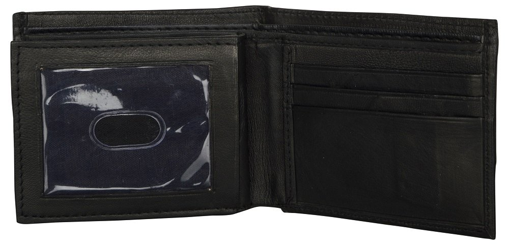 LEATHER OF INDIA Men's Leather Wallet Bi Fold - Soft Sheep Nappa With Side Flap 11.5 X 9 X 1 Cm Black by LEATHER OF INDIA (Image #5)