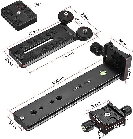 Andoer Andoer L200 Telephoto Lens Support Long Lens Holder Bracket Height Adjustable Compatible for Arca-Swiss Sunwayfoto RRS Benro Kirk Markins Mount