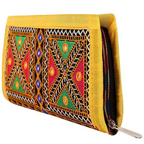 (Craft Trade Embroidered Clutch Purse Wallet Handmade Rajasthani Designer Handbag For Women/Girls (Yellow))