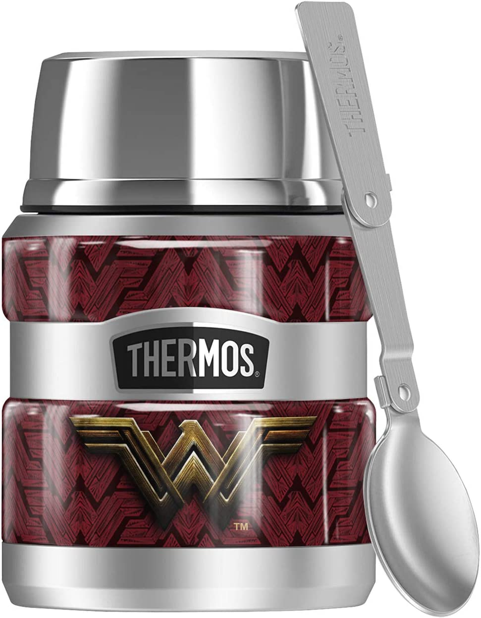 Justice League Movie Wonder Woman Logo, THERMOS STAINLESS KING Stainless Steel Food Jar with Folding Spoon, Vacuum insulated & Double Wall, 16oz