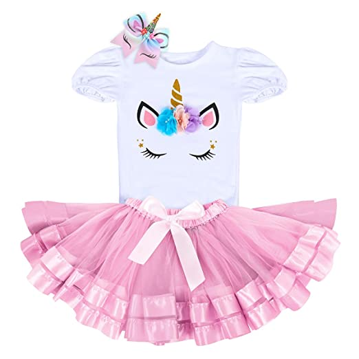 d46058cd0d43 Unicorn Birthday Outfit Rainbow Tutu Dress Baby Girls Romper + Ruffle Tulle  Skirt + Flower Horn