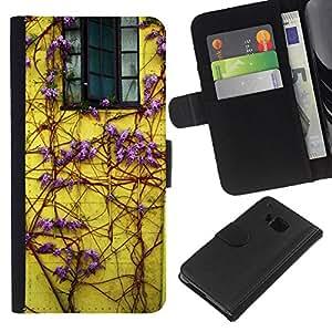 HTC One M9 Modelo colorido cuero carpeta tirón caso cubierta piel Holster Funda protección - Lilac Purple Vines House Window Yellow