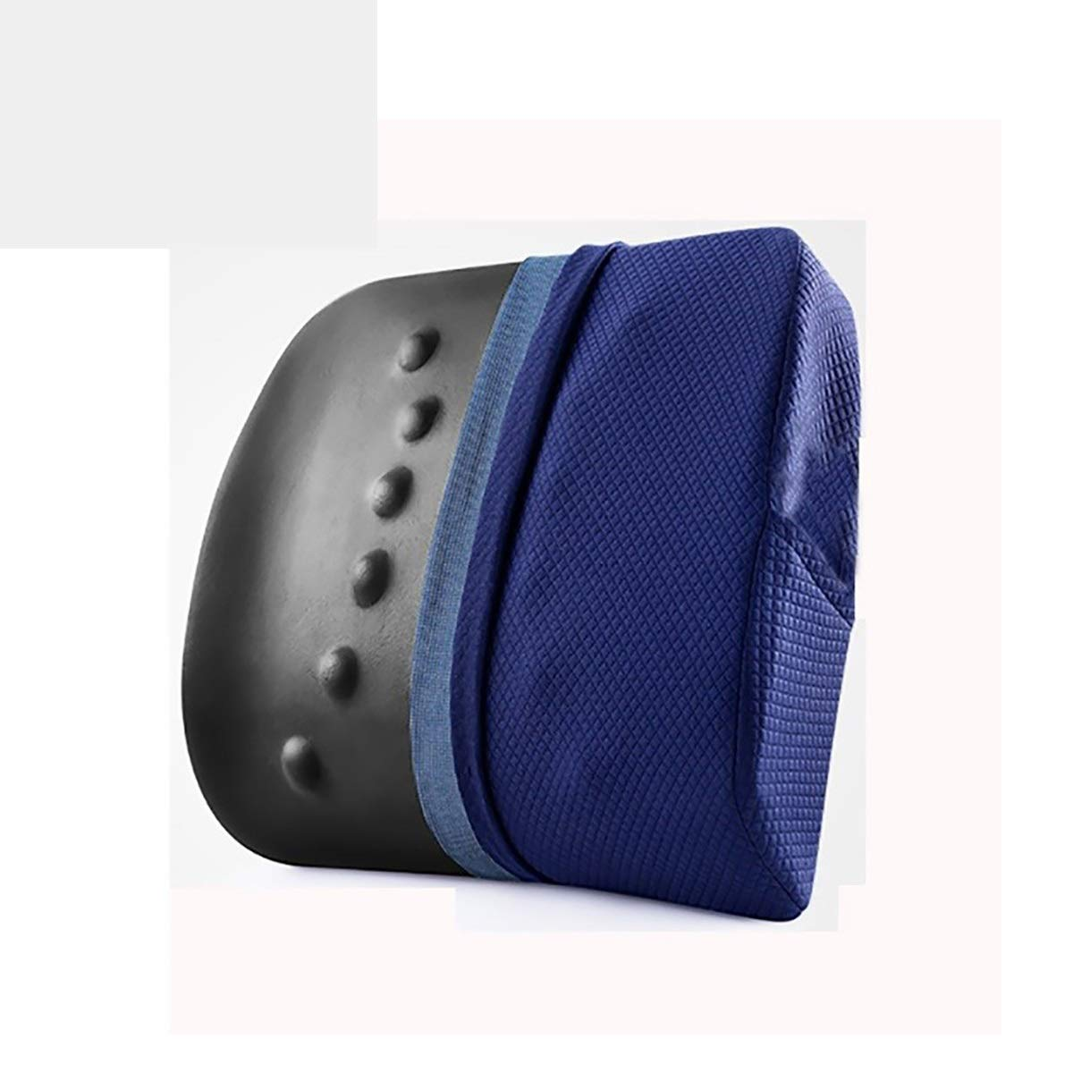 Waist cushion YLIAN Back Cushion Seat Chair Back Support Cushion 120D High Density Bamboo Charcoal Memory Cotton, for Car Home Office Chair,Ergonomics Orthopedic Design (Color : Navy Blue)