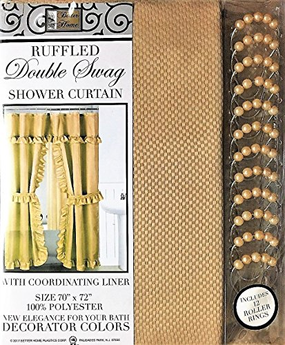 Better Home Mosaic Double Swag Fabric Shower Curtain /12 Coordinated Rolling Ring Hooks, 2 Tie Backs (Tan)