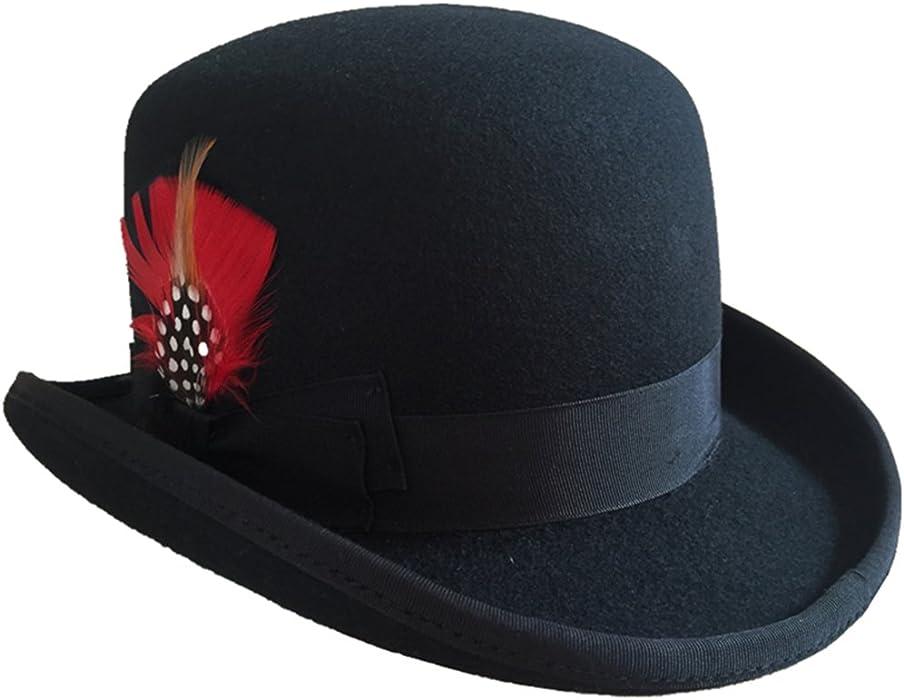 Hanshow Wool Men s Derby Bowler Felt Hat (Small-55cm(6 7 8)) Black ... d66552ad2b5