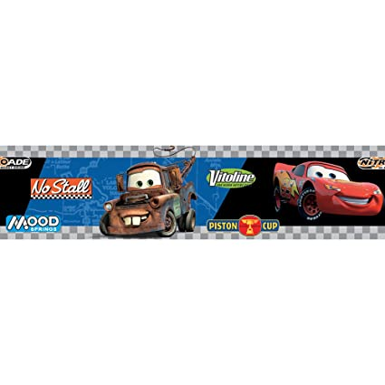 Checkered Flag Cars Nascar Wallpaper Border-6 Inch Black Edge