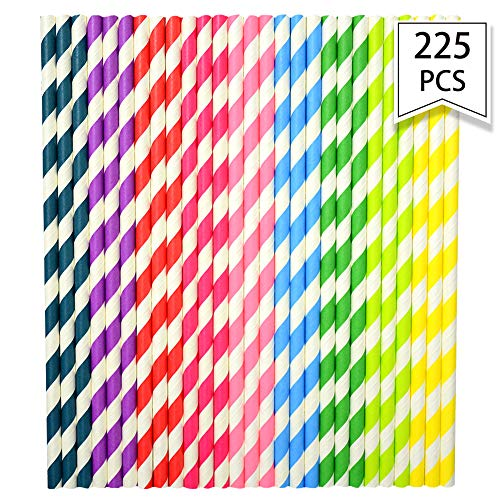 225 PCS Stripe Paper Straw Drinking, Reusable Straws Prefect for Carious Drinking Decorations Parties, Birthday Parties, Weddings Parties Cupcake Decorations with All the Rainbow Colors by Lucky Party