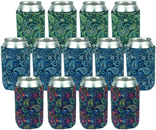 Neoprene Can Sleeves - Pack of 13 Paisley Can Cooler Covers Fit 12 oz Cans and 12 to 16 oz Glass & Aluminum Bottles. Premium Neoprene & Stitching by Impirilux (13, Paisley)