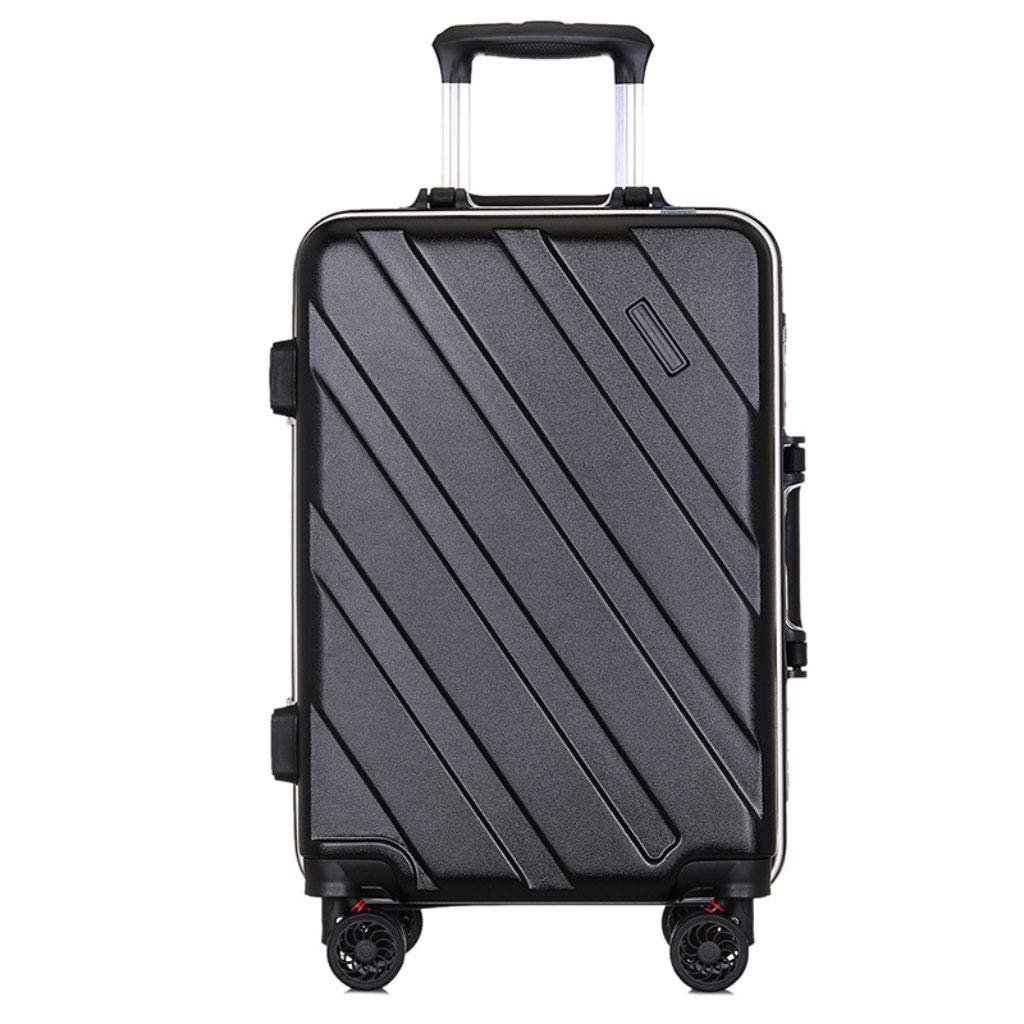 ファッションのアルミニウムフレームトロリーケースサイレントユニバーサル車のスーツケースの搭乗ケース。 (Color : ブラック, Size : 20 inches)   B07RJ9Z4Z1