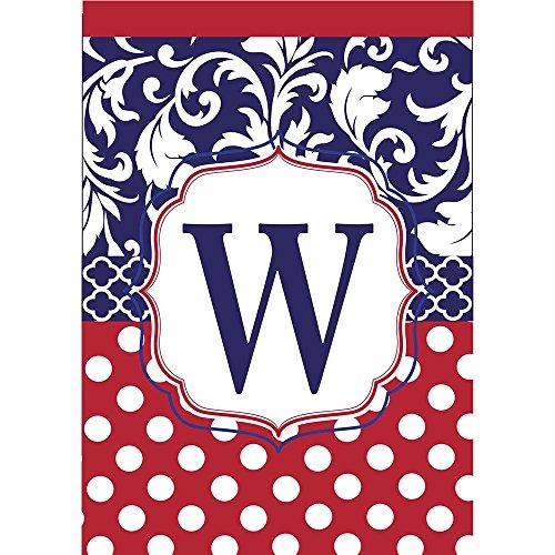 Monogram W Red White Polka Dot and Filigree Blue 18 x 13 Rectangular Applique Small Garden (Belle Crest)