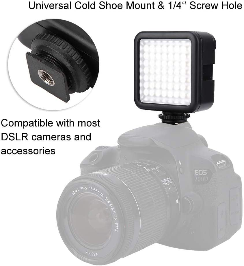 GOTOTOP Camera Video Light Portable Plastic 49 LED On Camera Panel Light Dimmable Video Light for Most of Cameras and Tripods Photography Studio Lighting