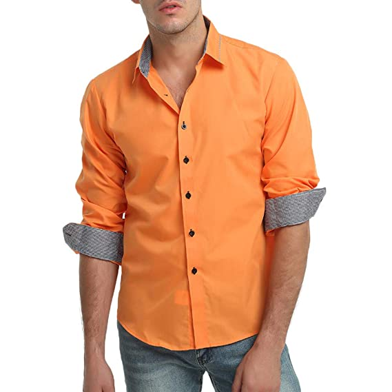 YanHoo Camisa de Vestir de Manga Larga de Corte Recto sólido Formal Ocasional del otoño de los Hombres de la Blusa Superior Moda Casual Delgado y Guapo: ...
