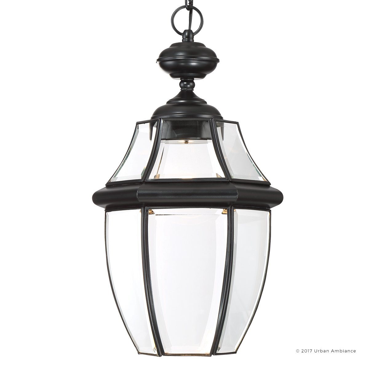 Luxury Colonial Outdoor LED Pendant Light, Large Size: 19''H x 11''W, with Tudor Style Elements, High-End Black Silk Finish and Beveled Glass, Integrated LED Technology, UQL1164 by Urban Ambiance