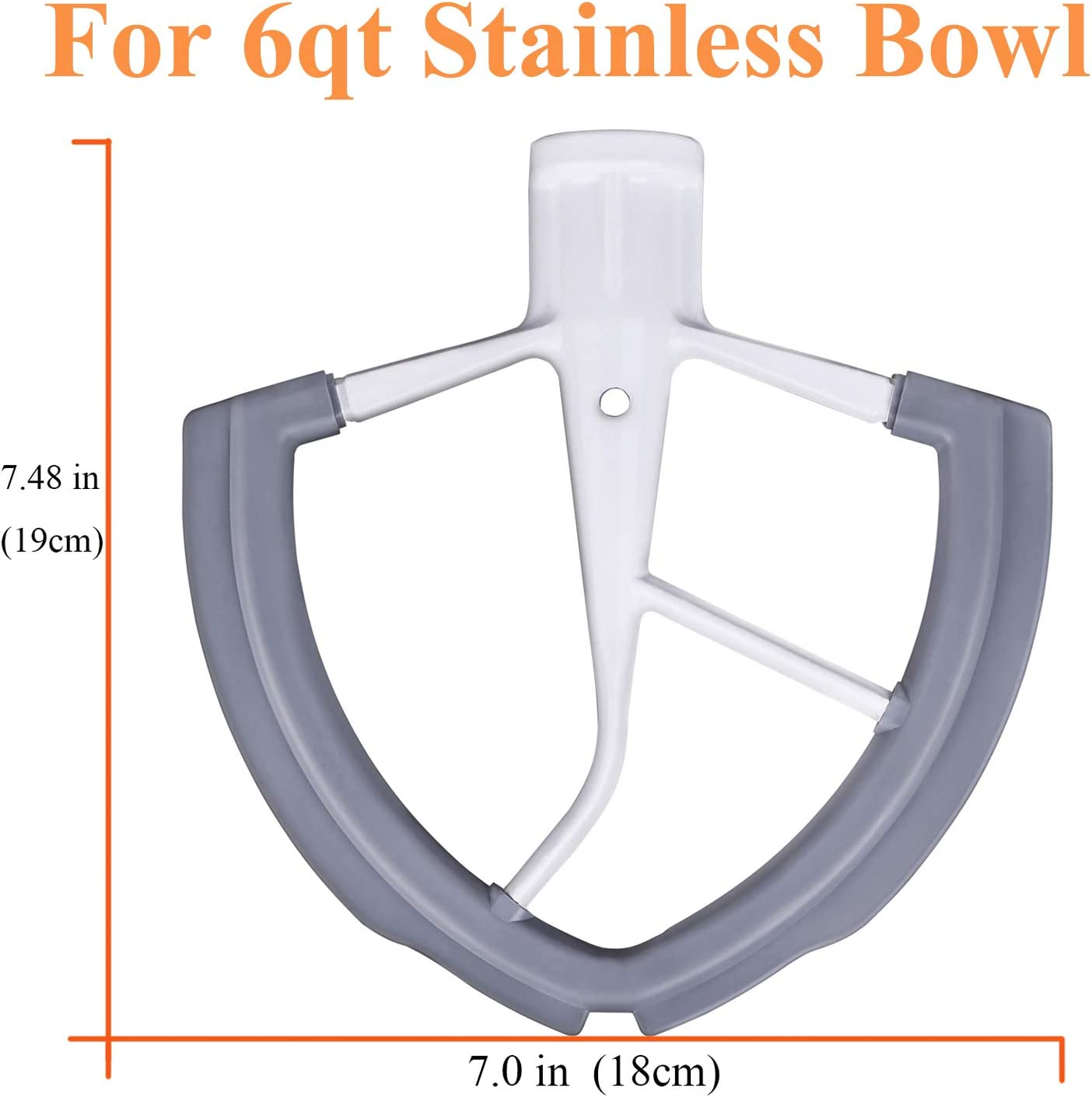 Flat Beater with Silicone Edges 4.5-5 QT Flex Edge Beater for KitchenAid Tilt-Head Stand Mixer for 4.5-5 Quart Bowls Grey