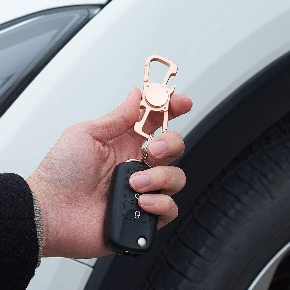 Blueshyhall Key Chain Bottle Opener Car Keychain with 2 Key Ring Easy Buckle Release Key Buckle Rotatable,Chrome