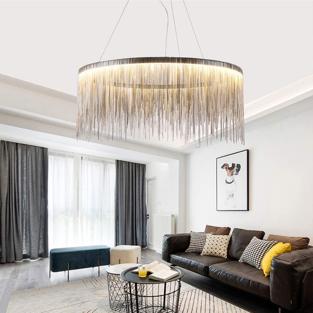 Moooni Modern Round Aluminum Tassel Linear Chandelier Pendant Ceiling Light Fixture for Bedroom Dining Room Kitchen Island Over Table W32 x H 14