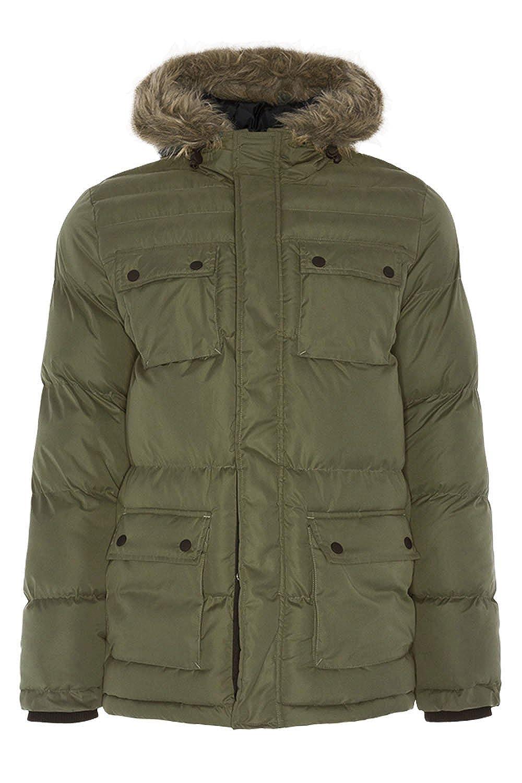Mens Parka Jacket Brave Soul Coat Padded Mesh Hoodie Fur Quilted Lined Winter