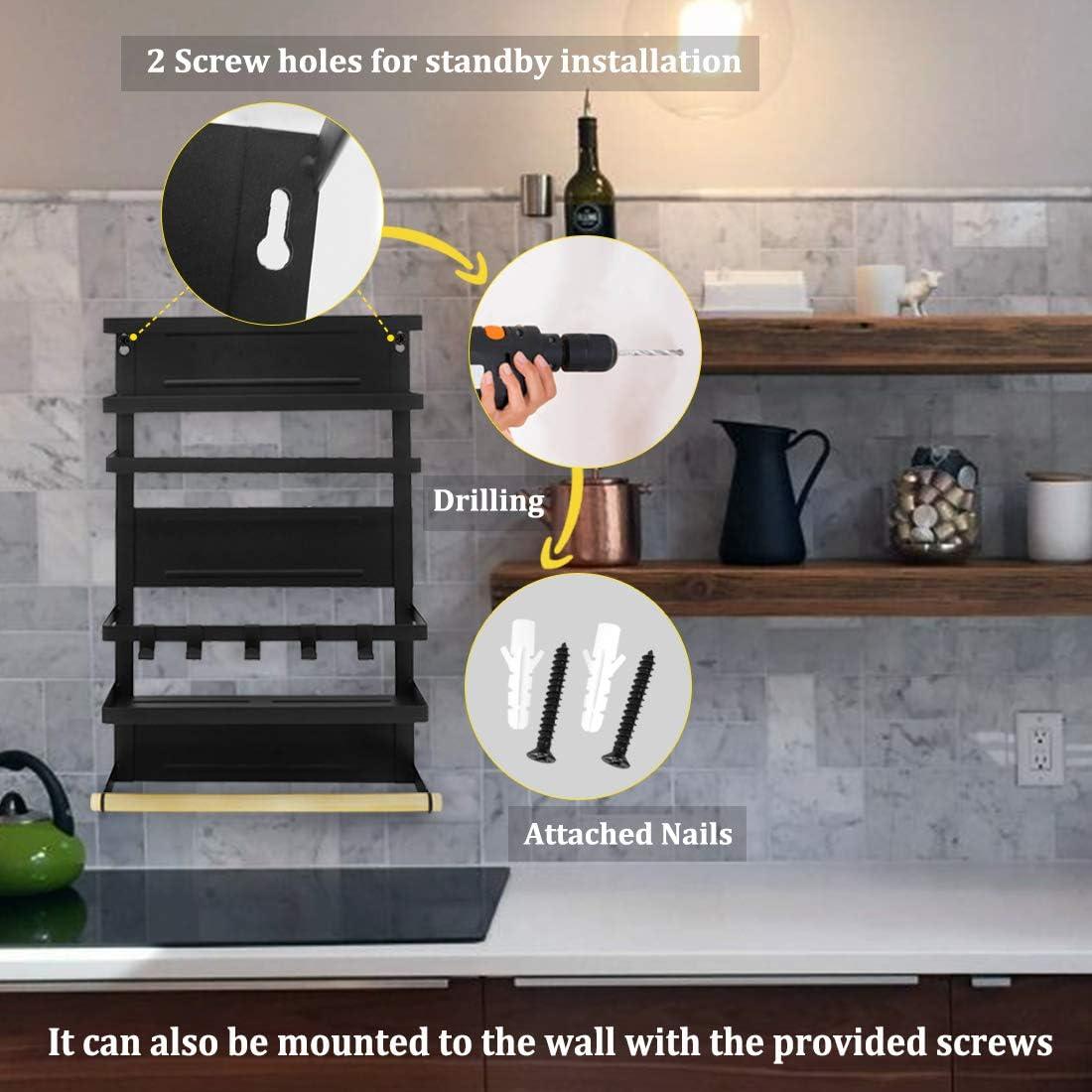 Large,Black Haturi Magnetic Shelf Magnetic Paper Towel Holder Fridge Spice Rack Kitchen Refrigerator Organizer Rack with 5 Removable Hooks