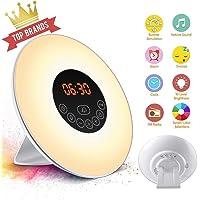 SOLMORE Alarm Clock Wake Up Light 481g 6 Natural Sounds 7 Colors 10 Brightness UK Plug-White